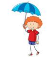 little girl holding umbrella doodle cartoon vector image