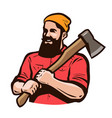 lumberjack axeman with axe in hands carpentry vector image
