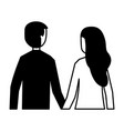 man and woman holding hands back view vector image