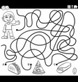 maze game with boy and food objects color book