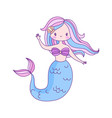 mermaid flat cartoon little character underwater vector image
