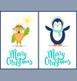 merry christmas owl penguin vector image