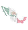 mexico stylized map shaped on tangled textured vector image