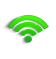 modern green 3d WiFi symbol with shadow effect vector image