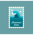 Ocean wave stamp Summer Vacation vector image