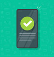 phone with check mark tick as updated info message vector image vector image