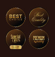 premium quality brown and gold labels vector image vector image