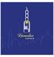 ramadan kareem mosque lettering blue background vector image