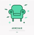 retro styled armchair thin line icon vector image vector image