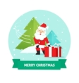 Santa Claus gift box Merry Christmas card New vector image vector image