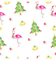 seamless pattern with christmas flamingos and tree vector image