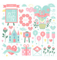 set of elements for wedding design save vector image