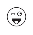 smiling cartoon face show tongue positive people vector image vector image