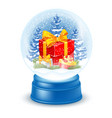 snowglobe with gift box vector image vector image