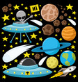 space set with planets and aliens vector image vector image