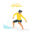 surfer silhouette with wave vector image