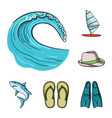 surfing and extreme cartoon icons in set vector image vector image
