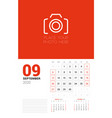 wall calendar planner template for 2020 year vector image