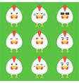 Flat design rooster or chicken cartoon characters vector image