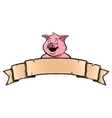 Pig with ribbon banner vector image