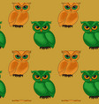 seamless pattern with cartoon owls vector image
