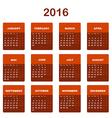 2016 Calendar template vector image vector image