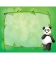 A panda beside a frame made of bamboo vector image