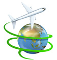 Airplane flying around the earth vector image