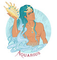 aquarius as a beautiful man with swarthy skin vector image vector image
