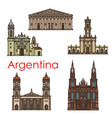 argentina landmarks architecture line icons vector image vector image