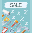 banner construction tools sale vector image vector image