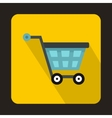 Basket on wheels icon flat style vector image vector image