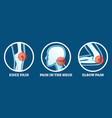 body pain icons set pain in knee neck and elbow vector image