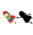 boy in hero costume with its outline vector image vector image