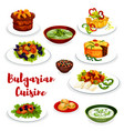 bulgarian cuisine icon of vegetable and meat dish vector image vector image