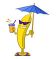 cartoon banana character vector image