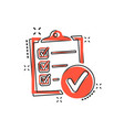 cartoon checklist icon in comic style checklist vector image vector image