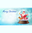 christmas card snow globe santa claus vector image