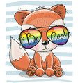 cute fox with sun glasses vector image vector image
