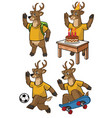 deer cartoon set vector image vector image