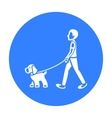 Dog walk icon in black style for web vector image vector image