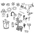 doodling new years elements decorative objects vector image