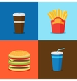 FastFood Junk Food Cartoon Icons vector image vector image
