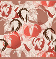 flowers pattern in warm colors retro style lilies vector image