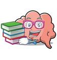 geek brain character cartoon mascot vector image vector image