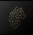 geometric tiger emblem golden polygonal tiger vector image