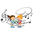 girls listening to music vector image