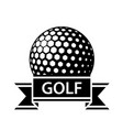 golf ball black ribbon simple symbol vector image vector image