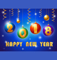 greeting card for happy new year colorful glossy vector image