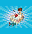 happy girl and sweet cake vector image vector image